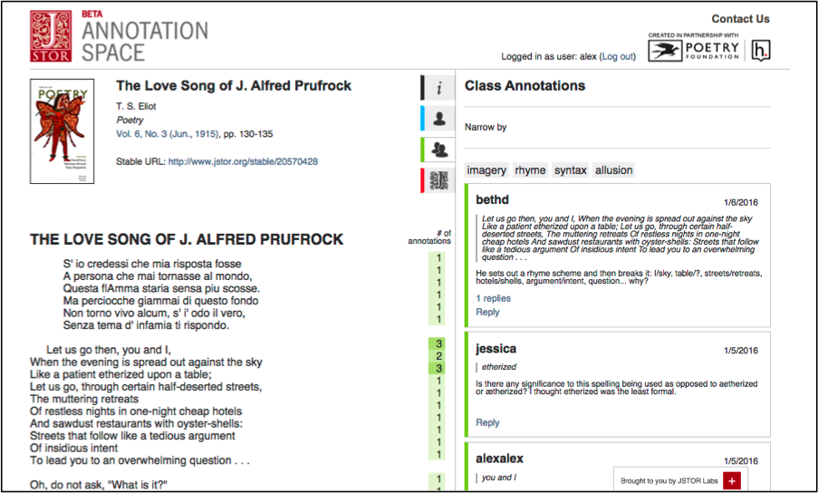 Annotation Space: Class Tab