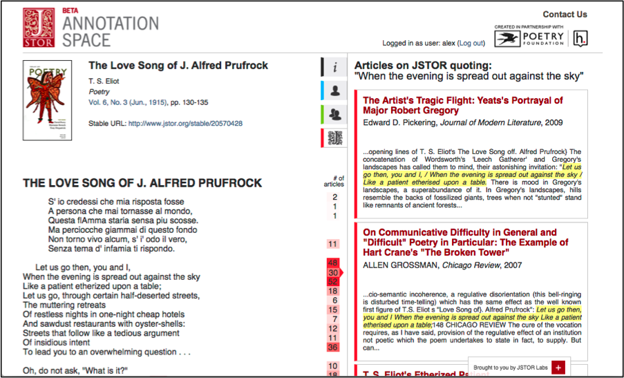 Annotation Space: JSTOR Tab